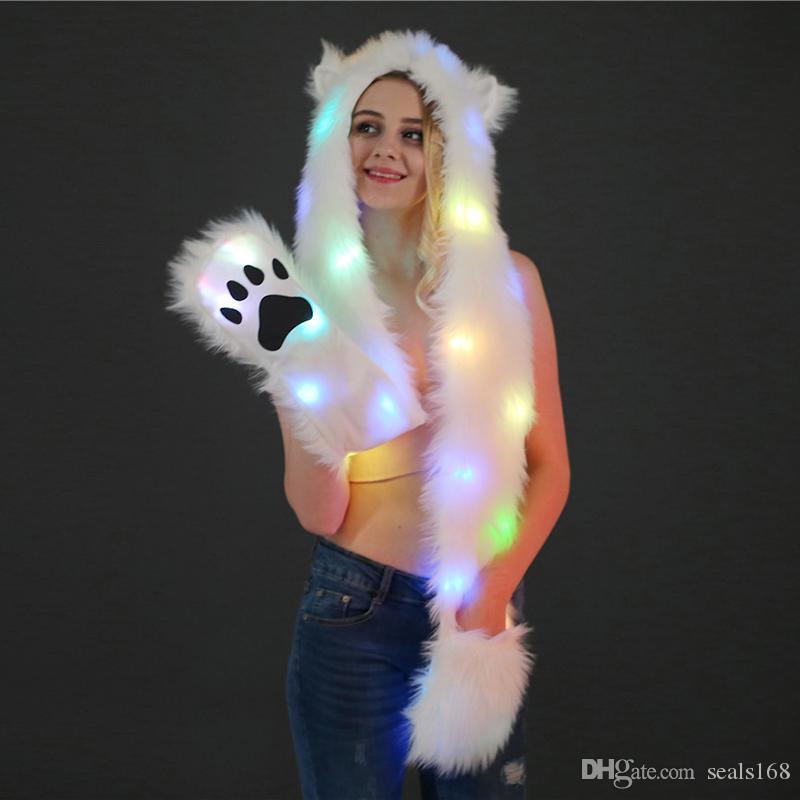 Sombreros de felpa de Halloween de Navidad de LED se encienden caliente de la capilla de la bufanda del casquillo para muchachas de las mujeres del partido del traje sombrero animal Suministros HH9-2446