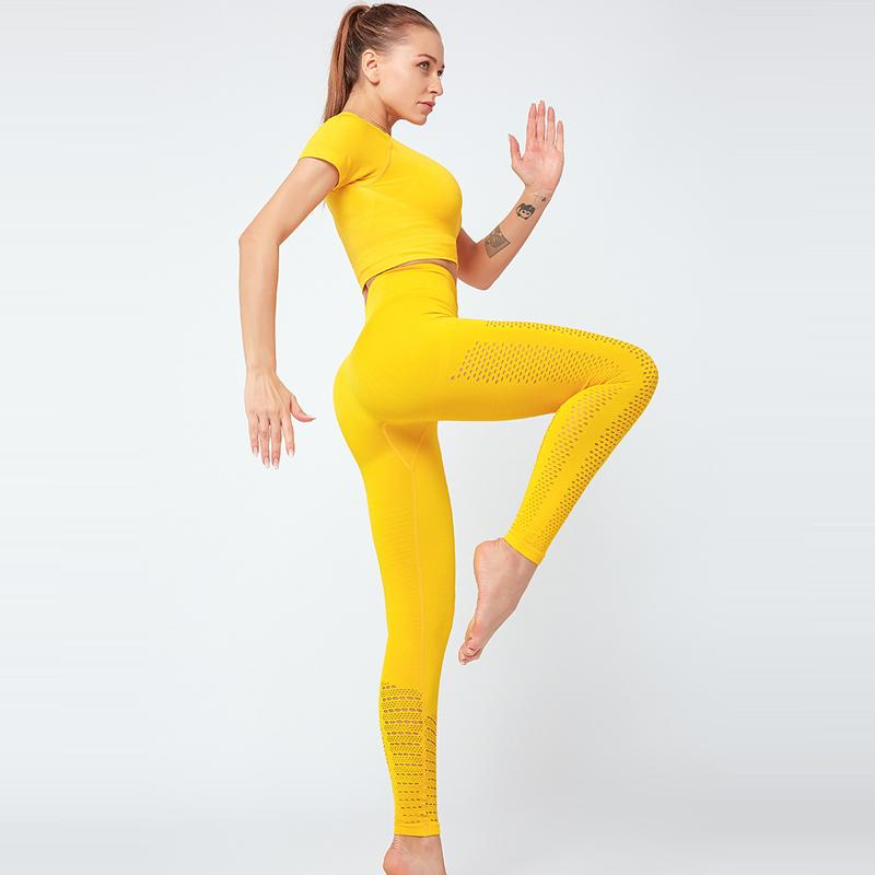 Kadın Spor Giyim Yüksek Bel Yoga Tozluklar Kırpılmış Kısa Gömlek Spor Spor Suit için 2pcs Sorunsuz Yoga Seti Spor Giyim