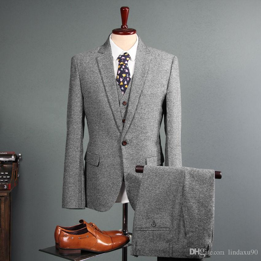 NEW Men's Vintage Suit 3 Pieces Tweed 2019 Fleck Button Wool Gray Custom Tailored Fit Groom Tuxedos Jacket Pants Vest