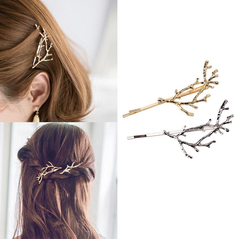 Vintage Gold Silber Baum Haarspangen Mädchen Legierung Zweig Haarnadeln Mode Hairgrips Dame Elegance Metall Haarschmuck Für Frauen D19011502