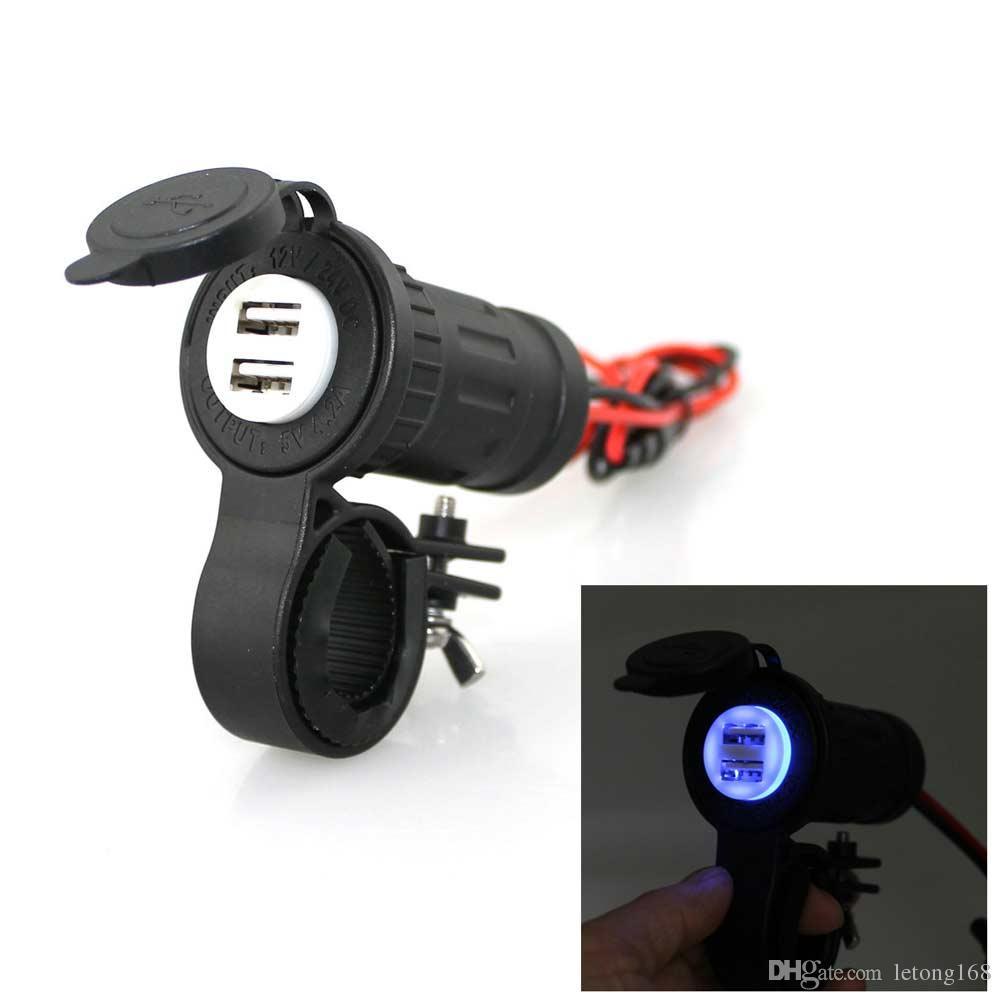 Chargeur de voiture étanche adaptateur USB allume-cigare USB Moto Téléphone Chargeur 5V 4.2A