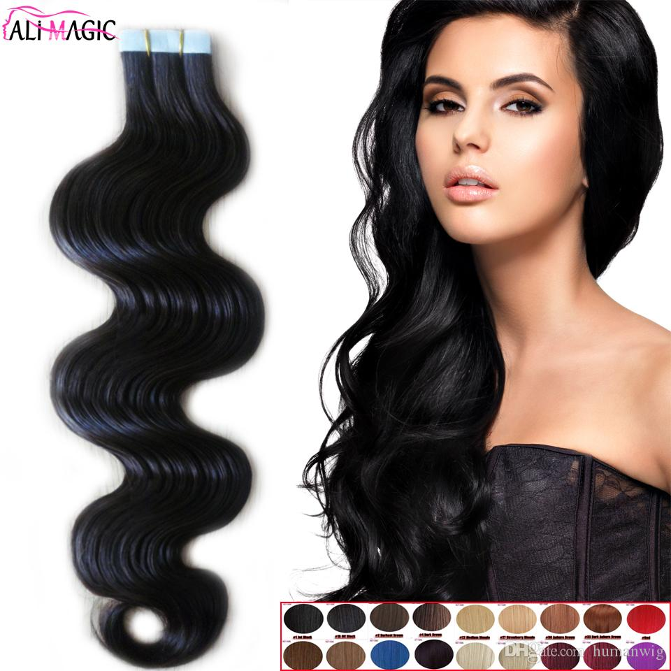 Skin Weft Tape In Hair Extension Brazilian Body Wave 100% Real Human Hair Natural Black Brown Blonde 32 Colors Optional China Factory Direct