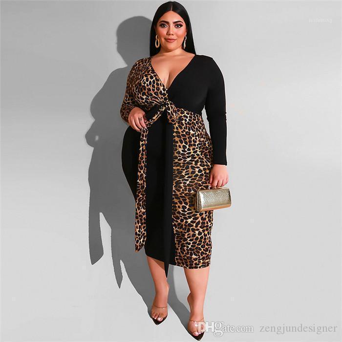 Дизайнер Макси Платья V Образным Вырезом Леопардовый Принт С Длинным Рукавом Bodycon Мода Женская Одежда Женские Плюс Размер