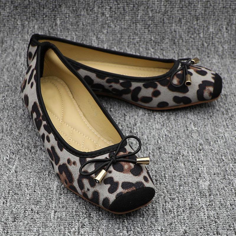 2020 Spring Woman Ballet Leopard Fourreau sur Mocassins Femme avec Flats BowFordable ballerine plate-forme Comfy Chaussures plates Casual