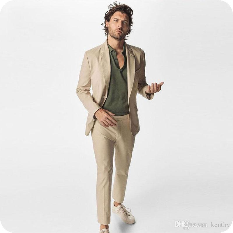 style attrayant performance fiable toujours populaire Summer Khaki Man Blazer Jacket Business Coat Pant Skinny Notched Lapel  Costume Homme Slim Fit Best Man Suit Mens Wedding Suits Mens Dress Suits  Mens ...