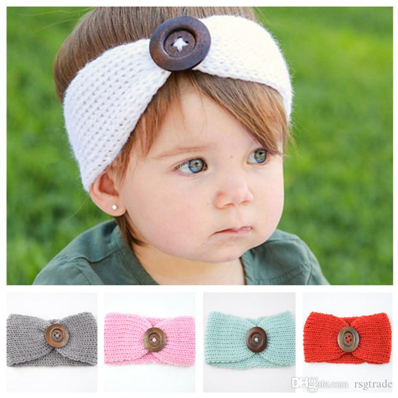 Free DHL 13 Colors Infant Knitted Knot Headbands Turban Crochet Wood Button Headwear Winter Headwrap Elastic Hair Baby Kids Hair Accessories