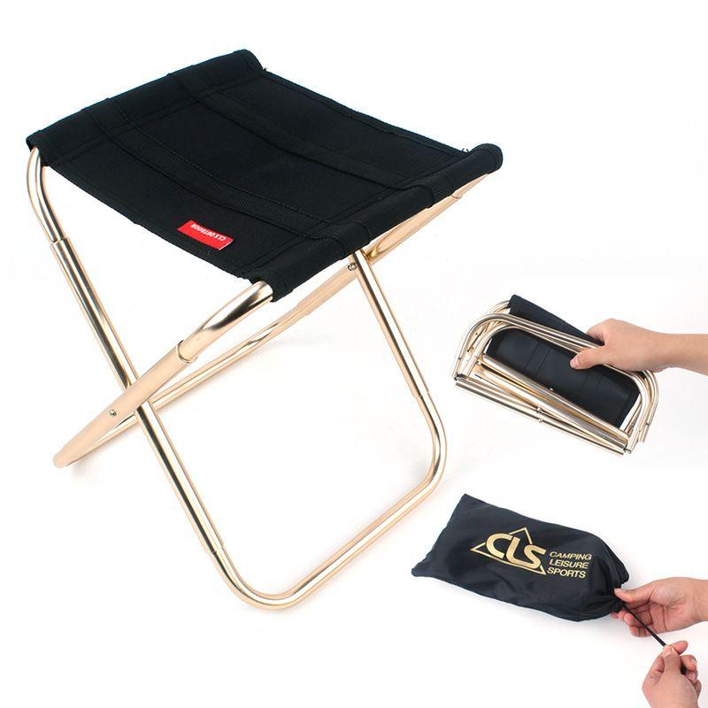 Gartenstühle im Freien beweglicher Fischen Folding Camping-Stuhl 7075 Al-Zug Reisen Ultralight Schwarz Small Sitz