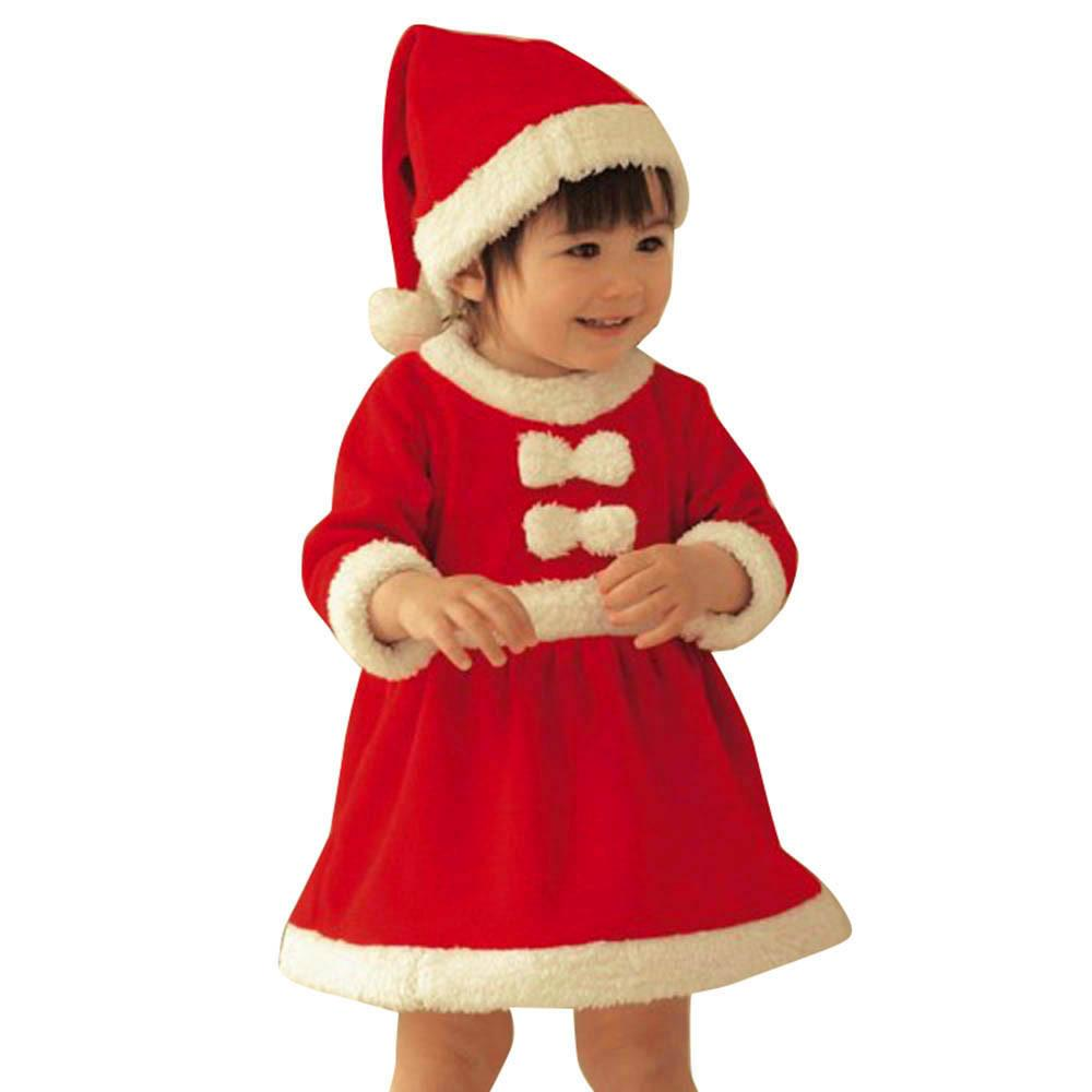 Toddler Kids Baby Girls Bow Christmas Clothes Costume Party Dresses And Hat Outfit Cotton Blended Red Dress Set Gifts For Children