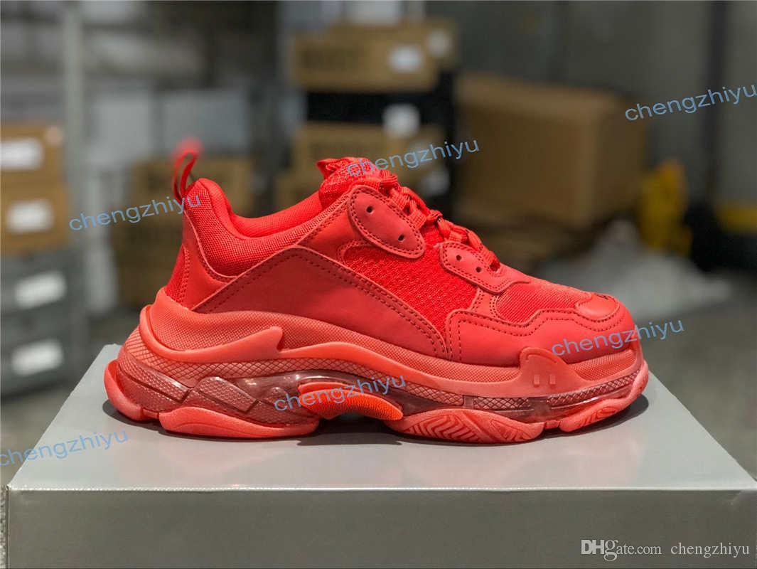 أعلى جودة باريس رجل إمرأة الثلاثي S 3.0 موضة أحذية نسائية عادية مزيج النيتروجين تسولي كريستال القاع أبي حذاء عرضي 36-45