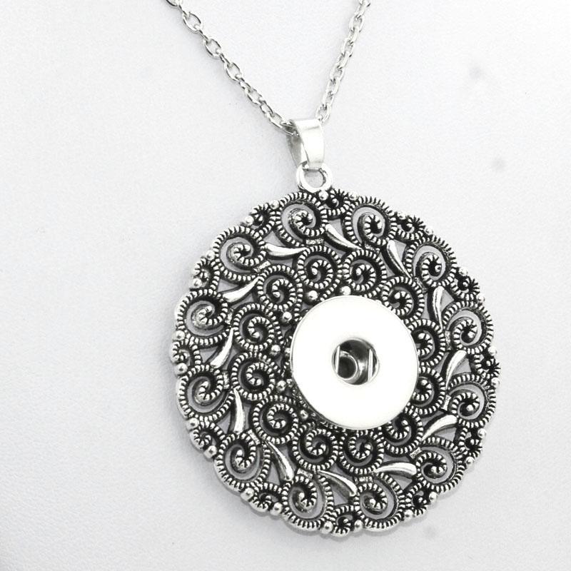 Круглый 18мм fashion-Snap кнопки ожерелья Женщина Bohemian Ожерелья Подвески Бисер Женщины Заявление ювелирные изделия Ne415 Рождественский подарок