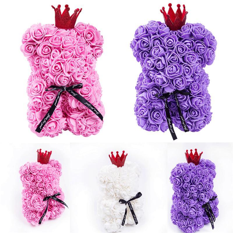 25cm Rose Ours en peluche / Coeur mousse fleur cadeau pour Girlfriend anniversaire de mariage mignon Big Bear Doll Jouets Creative Valentine