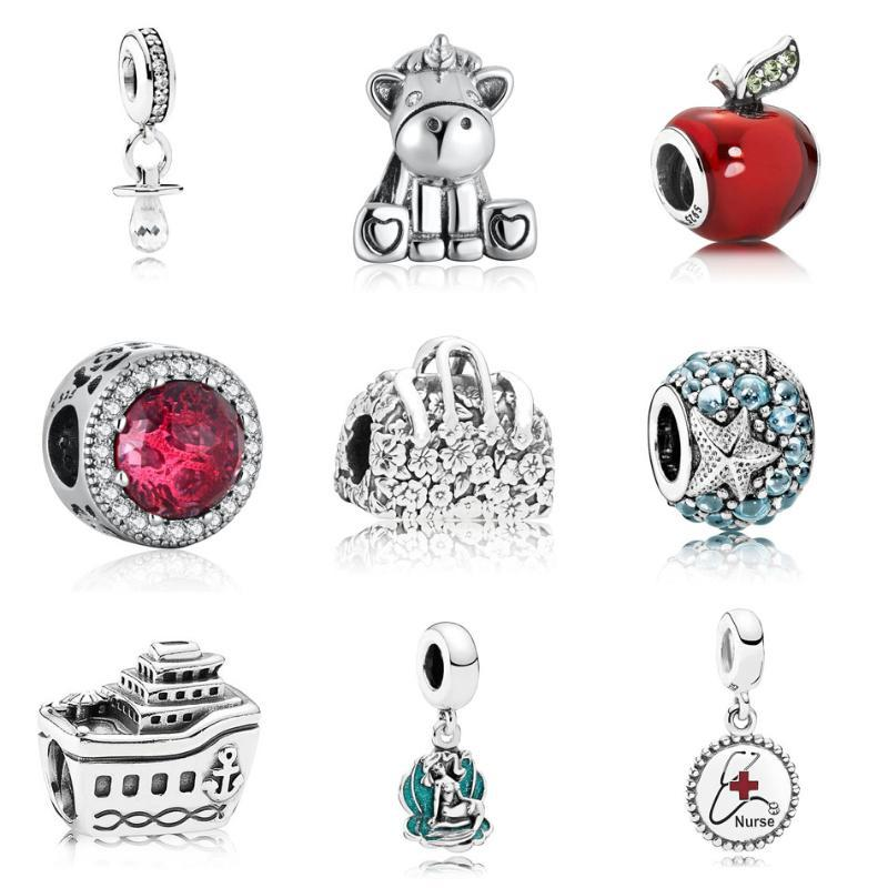 Beads Pendant S925 di Apple Starfish Borsa Nave ciondola fascino misura i monili del braccialetto del regalo della ragazza fai da te