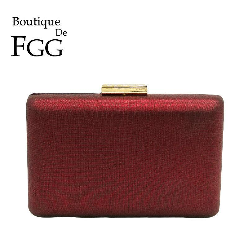 Boutique De Fgg Simple Design Red Pu Women Casual Evening Bag Box Clutch Purse Party Dinner Cocktail Handbag Chain Shoulder Bag Y19051702