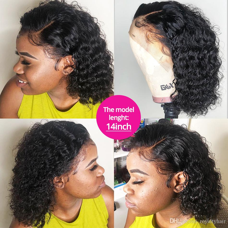 Short Bob Deep Curly 150 Density Lace Front Human Hair Wig Pre Plucked Brazilian Curly Frontal Natural Water Wigs
