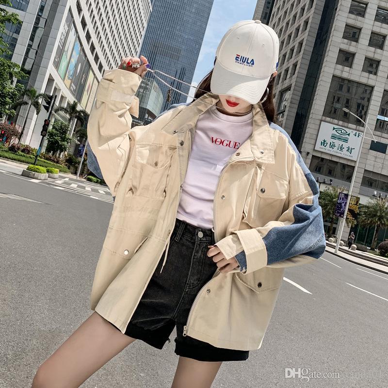 Jacket Womens Casacos Ladies frouxa Denim costura Curto Windbreaker bolso Design Estar de manga comprida Collar Jackets