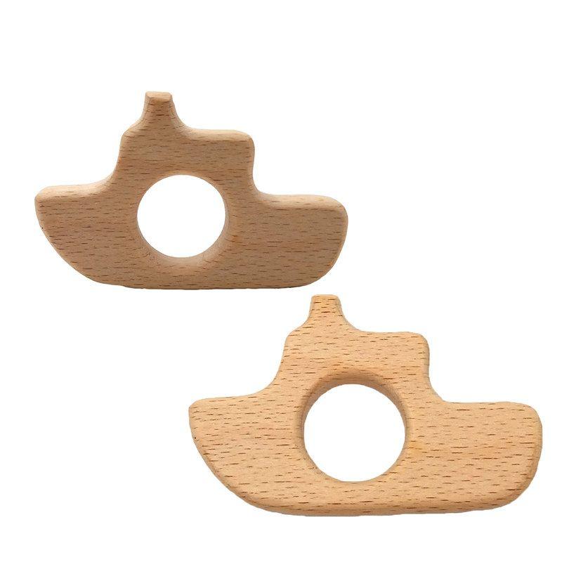 200pcs Beech forma navio de madeira Teether Madeira Pingente dentição brinquedos grau alimentício materiais orgânicos Chew Teethers Baby Gift