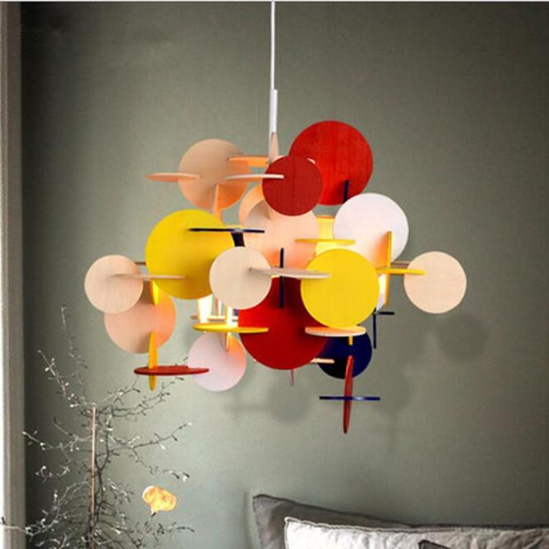 غرفة حديثة لوفت متعدد الألوان DIY الخشب قلادة ضوء الإبداعية إيطاليا مصمم كيد الضوء الشنق أدى ضوء مصباح شحن مجاني