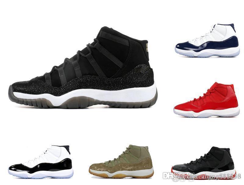 Mit Box 11 XI Mens-Basketball-Schuhe zu verkaufen Concord Bred Olive Lux Platinum Tint Space Jam UNC 2019 XI Designer-Schuh-Sport-Turnschuhe 36-47