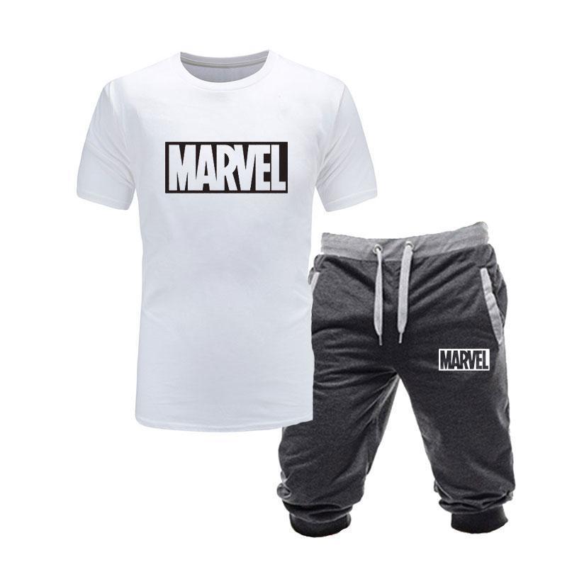 O-образным вырезом Хлопок футболки + шорты Мужские наборы брендовой одежды Две пьесы Tracksuit вскользь Tshirts тренировки Фитнес-комплекты S-XXL