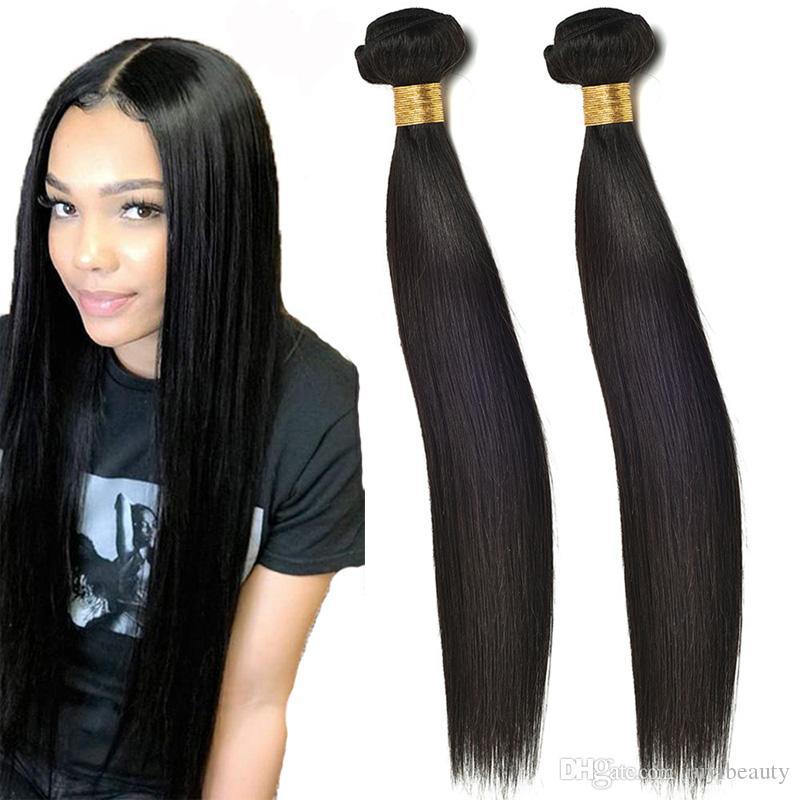 Perulu İnsan Saç 2 Paketler Düz Toptan Virgin Saç Uzantıları 2 adet / lot Doğal Renk İpeksi Düz Bakire Saç