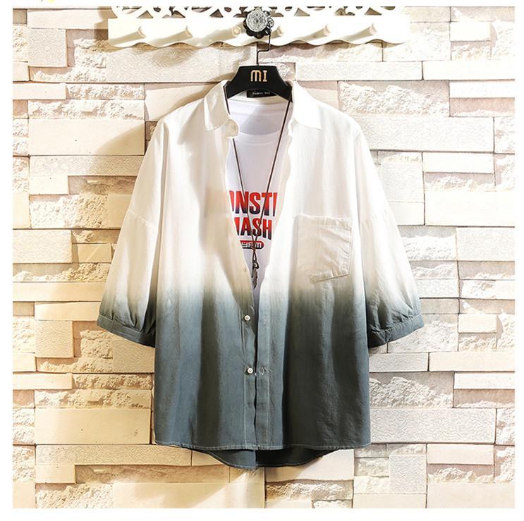 Gradient Linen Blend Mens Shirts Summer 3/4 Sleeve Pocket Sunscreen Male Clothing Casual Men Designer Tops