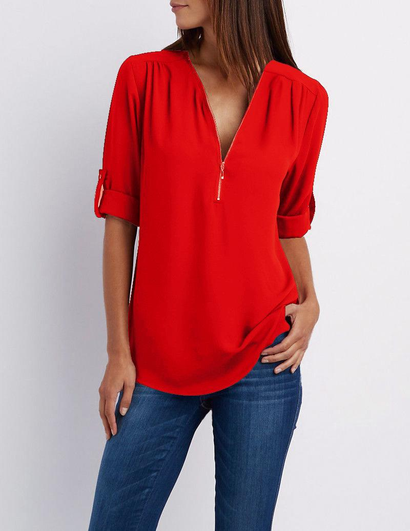 شعبي V الرقبة سحاب كبيرة الحجم الشيفون تيشرت القميص المرأة بأكمام طويلة فضفاضة T Shirt أعلى 17 الألوان S-5XL