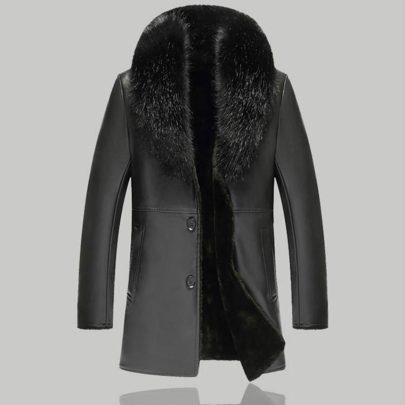OUYE Mens Winter Fur Collar Faux Leather Short Jacket