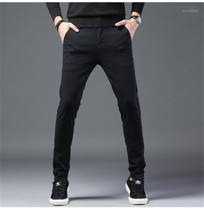 Sonbahar Katı Renk Erkek Pantolon Gündelik 2020 Lüks Tasarımcı Giyim Tasarımcı Düz Pantolon Moda İlkbahar Mens