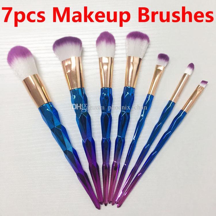 Hot Sale 7pcs Makeup Brushes Unicorn Diamond Colorful Makeup Brush Blue and Purple Gradient Color Brush Set Beauty Makeup Tools free shippin