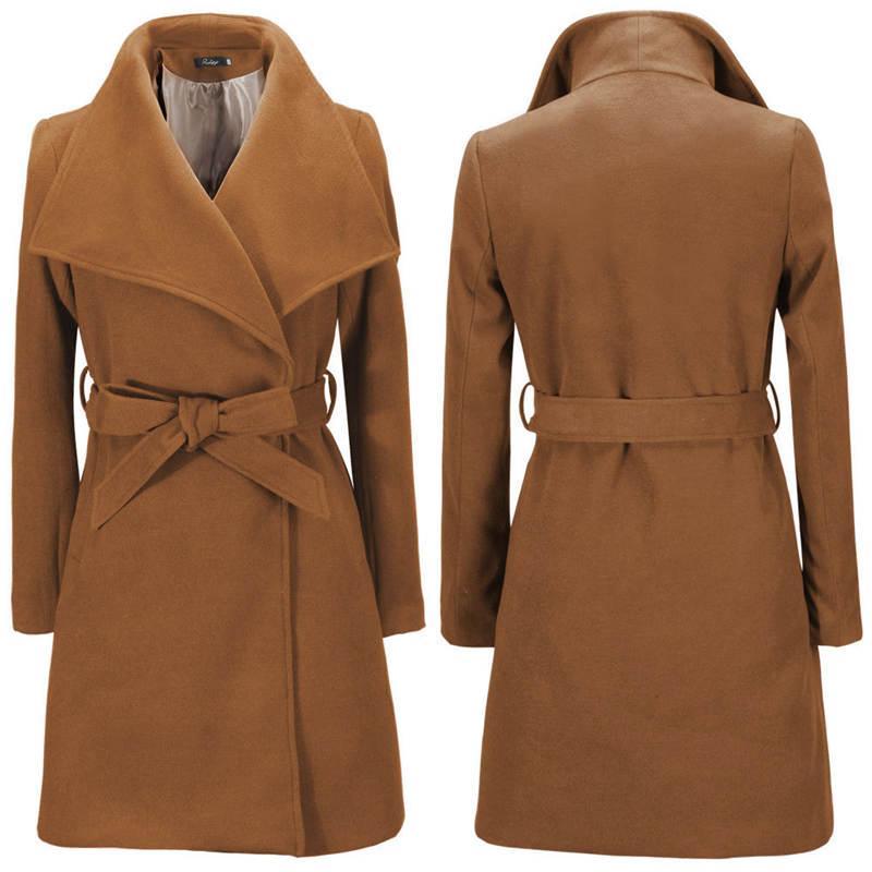 Женщины Дизайнер зимних пальто Пояс отворот шея мода сплошного цвет женщины Верхней одежды Casual Женских пальто шерсти
