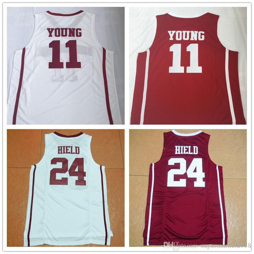 NCAA 오클라호마 대학 mens # 11 Young # 24 HIELD 대학 농구 저지 레드 화이트 온라인 쇼핑 상점 팬 탑 티 스포츠 티셔츠