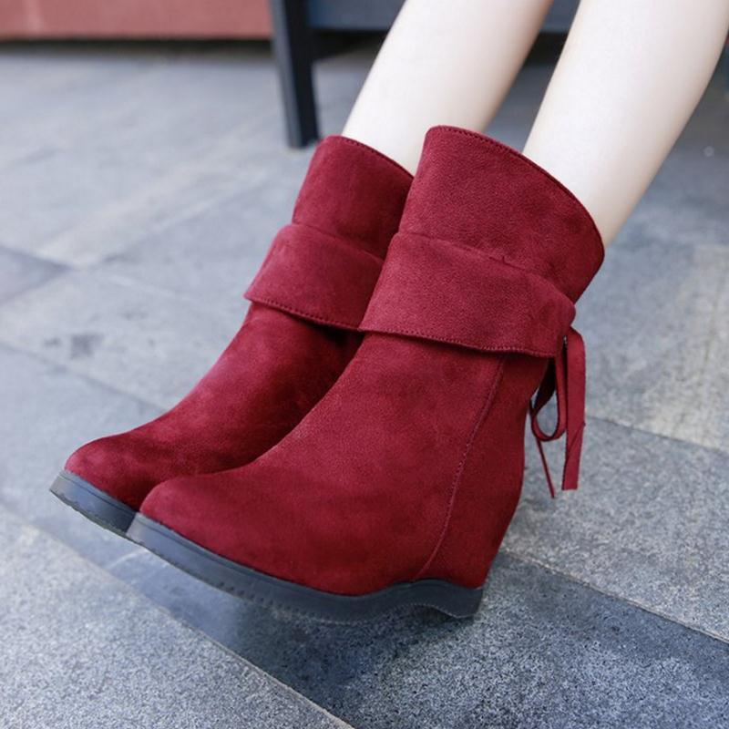 Sapatos KemeKiss Mulher botas de Cunhas Bowtie Ladies Dentro sapatos de salto Inverno Mid Calf Botas Moda Curto Tamanho 35-40