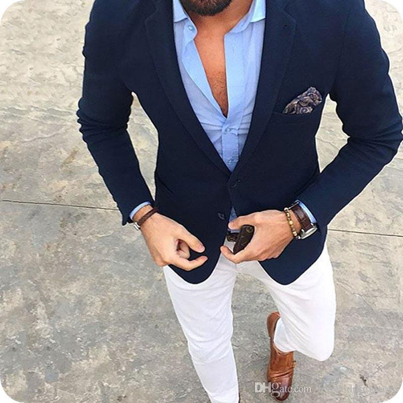 Formal Business Navy Blue Man Suits Man Blazers Casual Prom Wear Slim Fit Costume Homme Gentle Man Clothing Custom Made White Pants 2Pieces