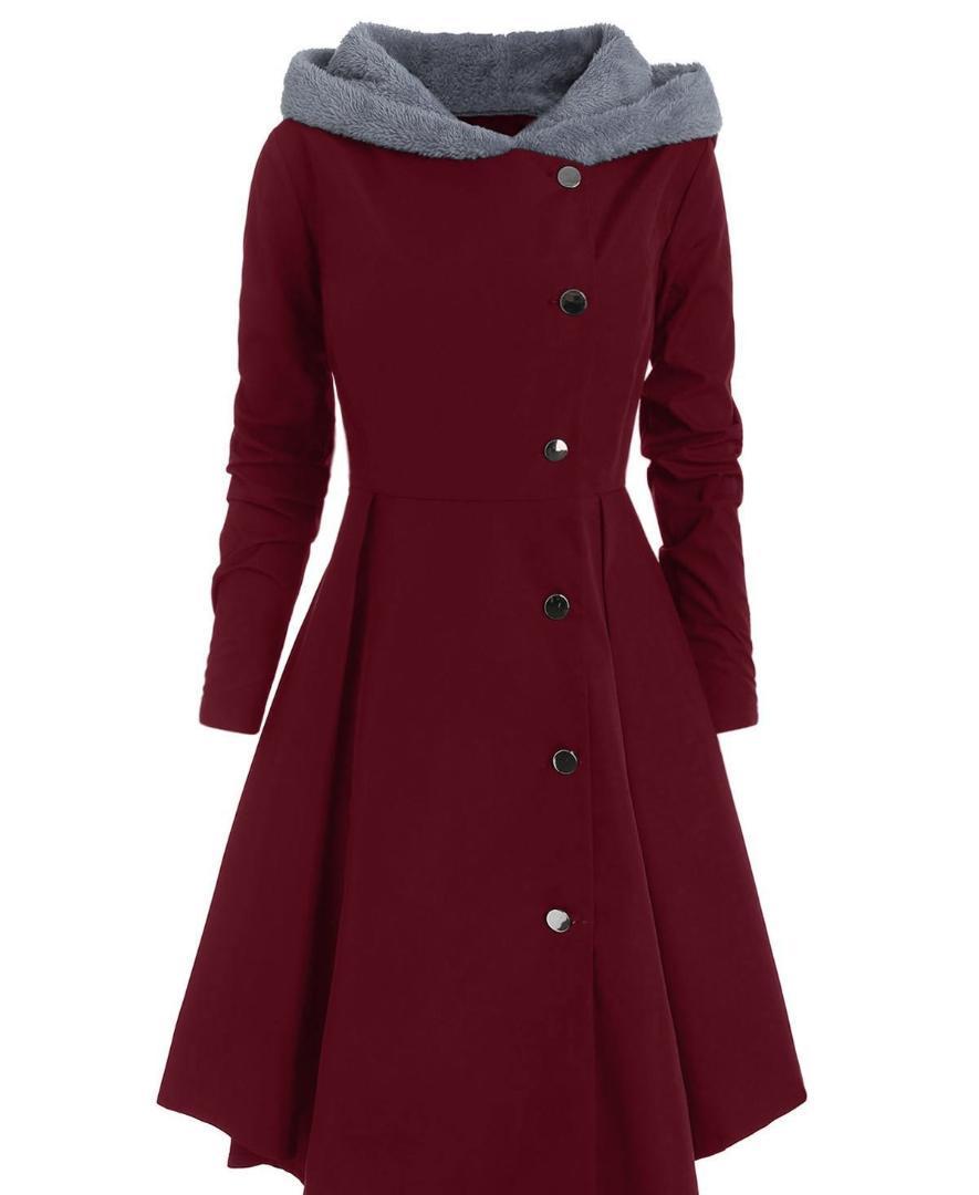 الشتاء النساء غير المتماثلة بالإضافة إلى حجم معطف التباين مقنعين معطف متجنب واحد برستد كتلة اللون أبلى طويل