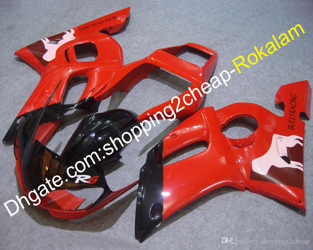 YZFR6 ABS Plastic Complete Fairing For Yamaha YZF600 R6 1998 99 00 01 2002 YZF-R6 Red Black Motorbike Fairings Parts (Injection molding)
