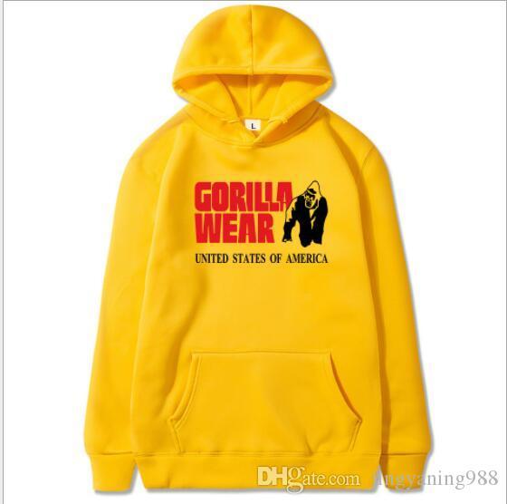Nuevo otoño y el fitness gorila invierno de los hombres de impresión y un jersey de marca ocasional floja de hip-hop de los hombres de la venta directa con capucha Europea flojos de las mujeres