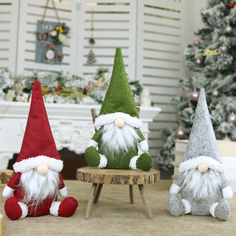 2019 Merry Christmas Uzun Şapka İsveçli Santa Gnome Peluş Bebek Süsler El yapımı Elf Oyuncak Tatil Evi Parti Dekoru