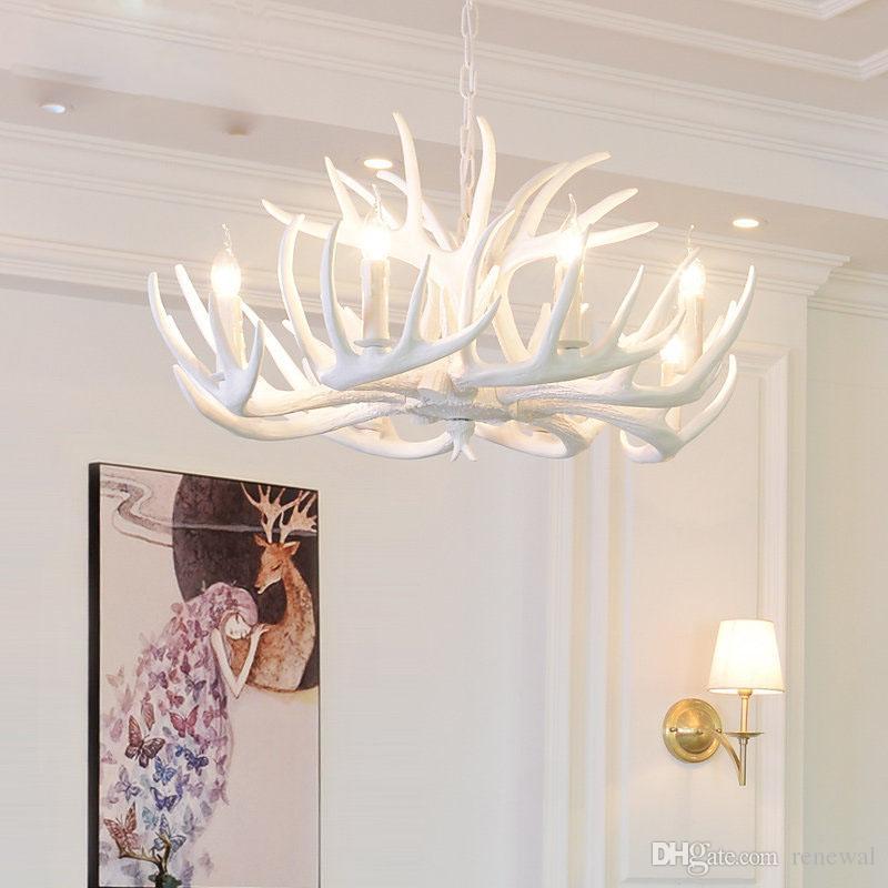 Antlers Resin Chandelier Lamp Modern Antler Chandelier Chandeliers Novelty Light