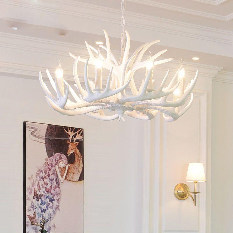 Antlers Resin Chandelier Lamp Modern, Modern White Antler Chandelier