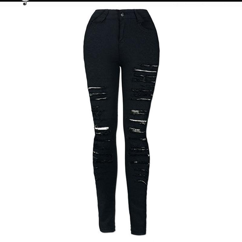 Fashion Ripped Jeans High Waist Skinny Jeans Destroyed Women Sexy European And American Cool