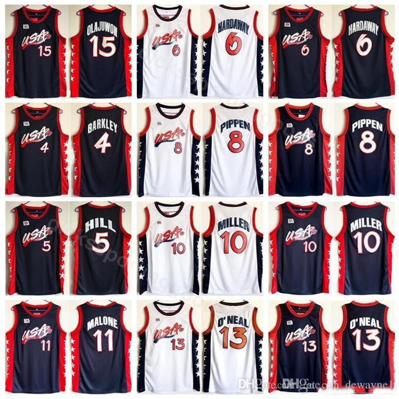 1996 camiseta de baloncesto de Estados Unidos Sueño Tres 4 Charles Barkley 5 COLINA 10 MILLER 6 Penny Hardaway 8 Scottie Pippen 15 Hakeem Olajuwon Americana