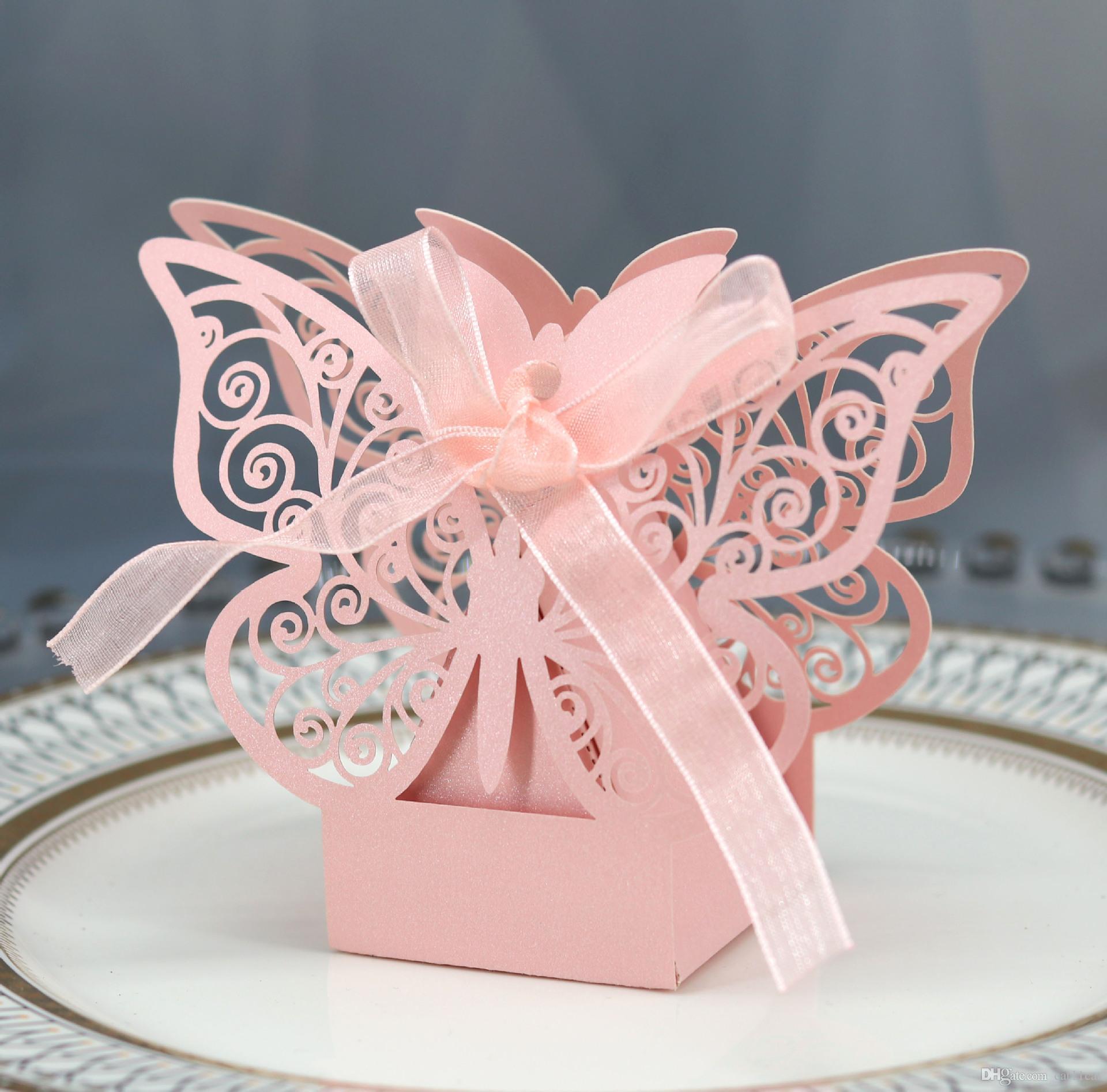 Свадебные подарочные коробки сумки полые бабочка коробка конфет для крещения день рождения первое причастие крестины праздничные атрибуты