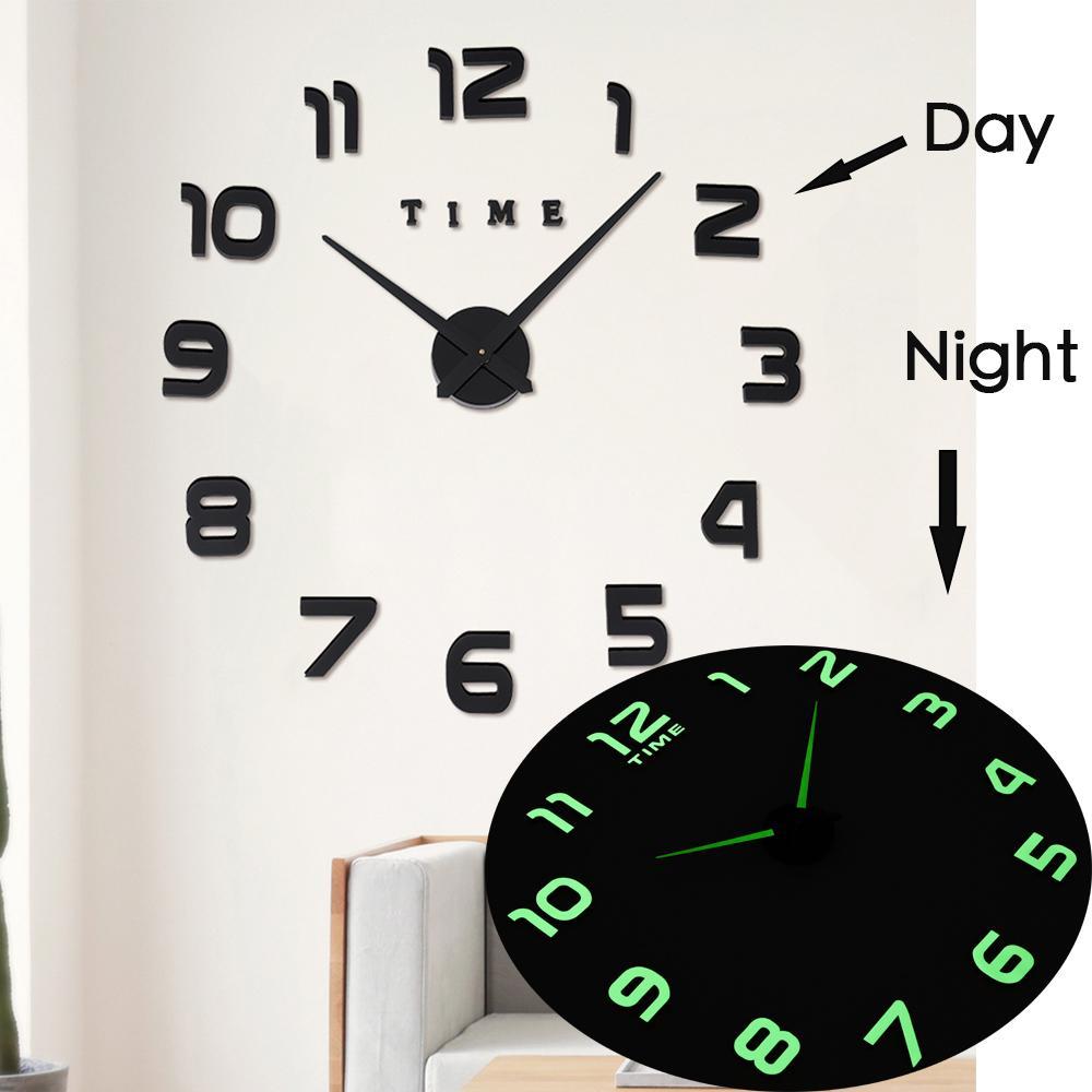 Horloge murale Horloges Design Moderne Montre Digital Grand 3D DIY DIY DIY Décor Lumineux Luminova Miroir Sticker Fashion Nouvelle arrivée