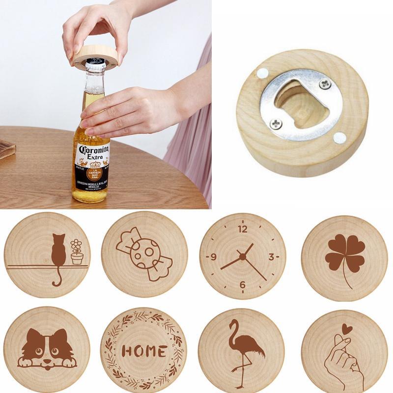 زجاجة الإبداعية الخشب فتاحة ثلاجة مغناطيس الثلاجة ملصق التخييم بروتابلي زجاجة فتاحة شعار هدية الزفاف مخصص HHA1146