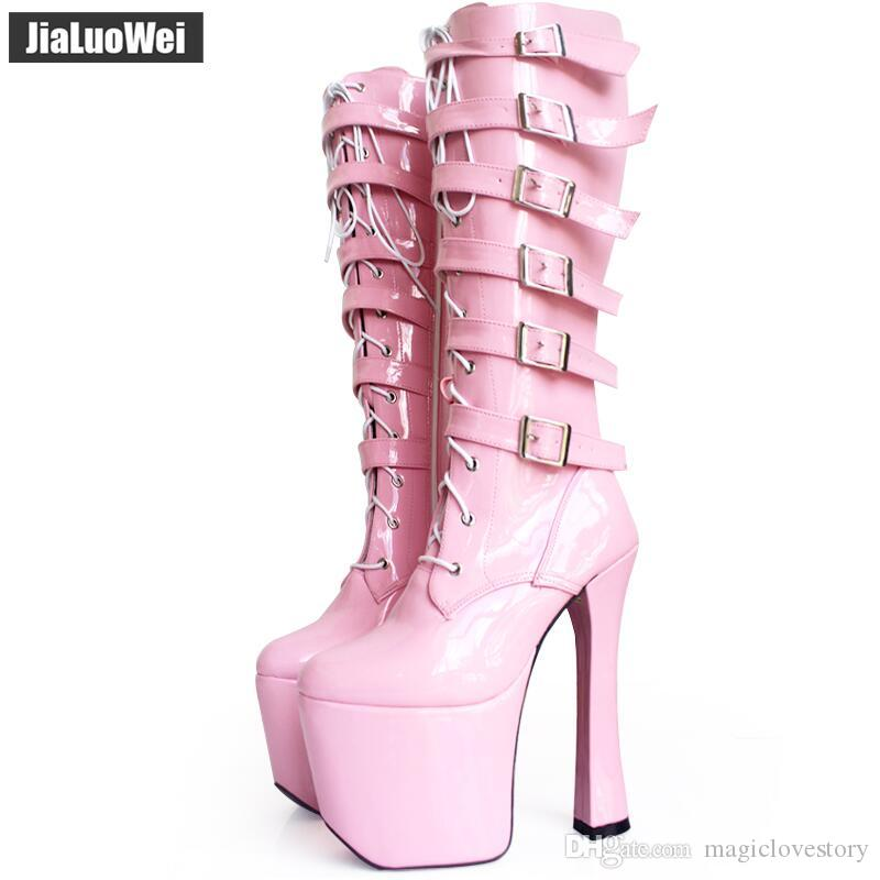20cm Buckles High Heeled Platform boots Woman leather fashion Dance Knee high motorcycle boots quality sexy women's cosplay shoes thick sole