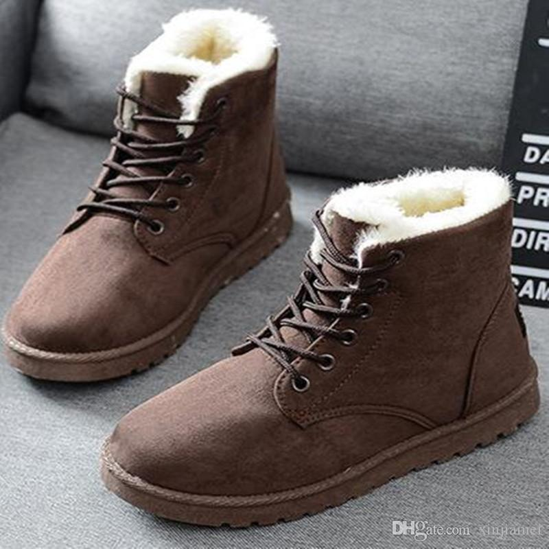 Women Boots Warm Snow Boots Heels Winter Boots Female Fur Plush Insole Ankle Boots for Women Shoes