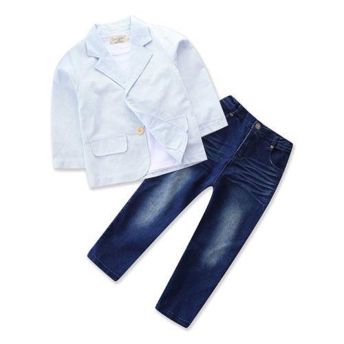 3PCS Baby Boys Gentleman Outfit suit Coat+T Shirt+Denim pants Kids Clothes Set