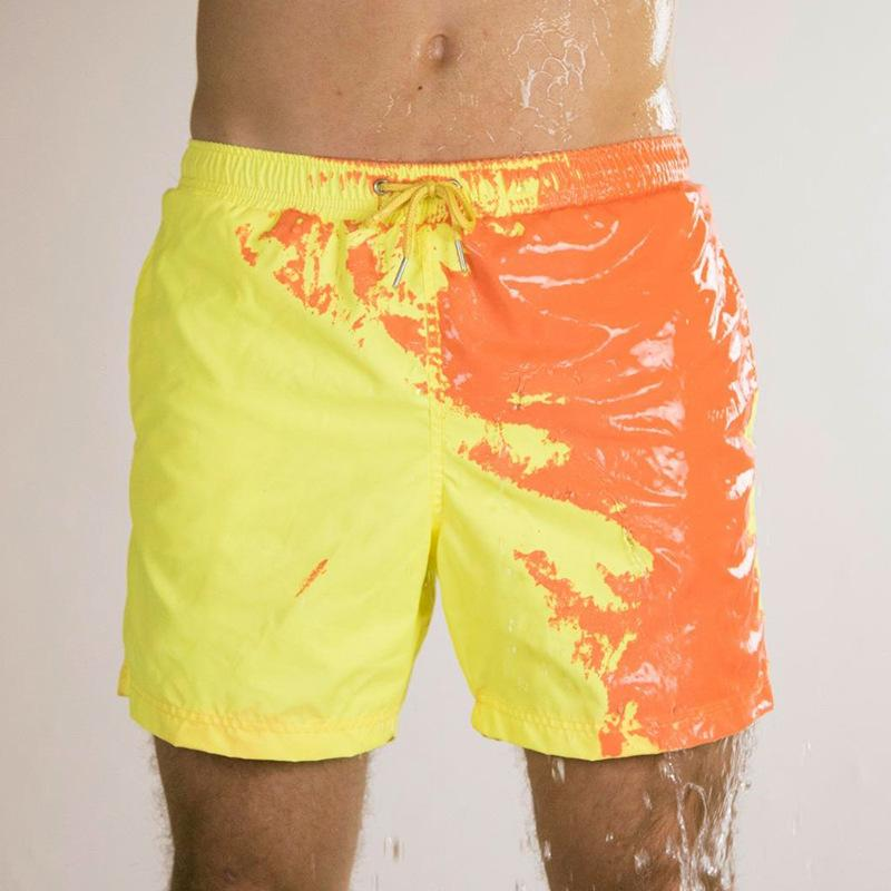 2020 Men's Summer Swimming Trunks Magical Change Color Beach Shorts Quick Dry Bathing Shorts Discoloration Fashion Surfing Pants
