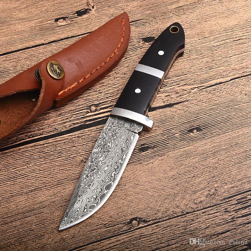 Maniglia Promozione Damasco sopravvivenza lama diritta in acciaio di Damasco goccia punta della lama piena di linguetta di legno Fixed Blade Knives