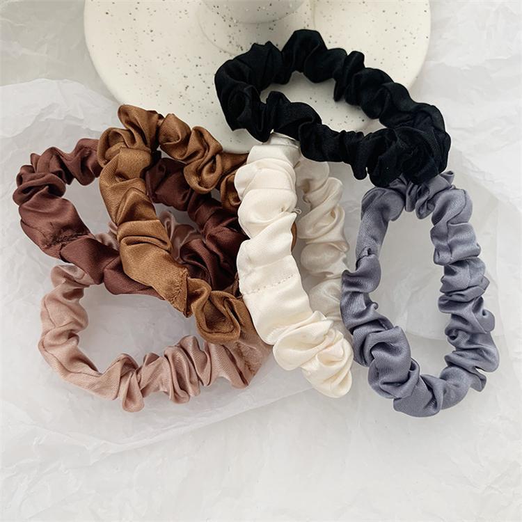 6 peças / lote Scrunchie hairband laço de cabelo de mulheres para acessórios de cabelo cetim stretch rabo de cavalo titulares Handmade presente cabeça TJY897